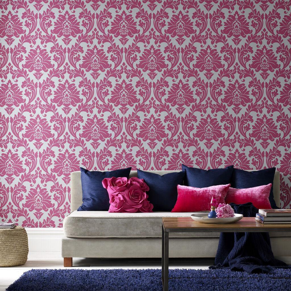 Pink Damask Wallpaper Bedroom Majestic Hot Pink Wallpaper Graham Brown