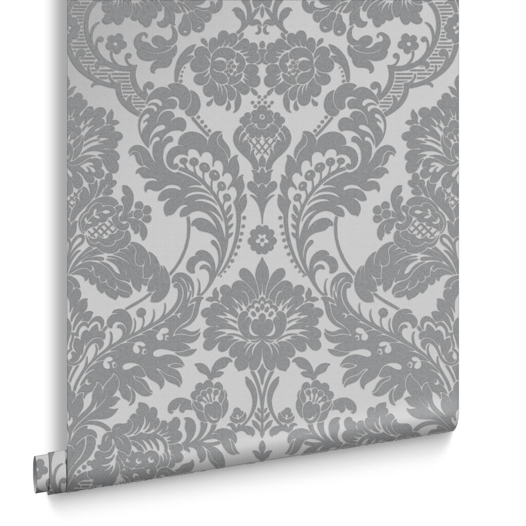 Gothic damask flock grey silver wallpaper grahambrownuk for Silver kitchen wallpaper