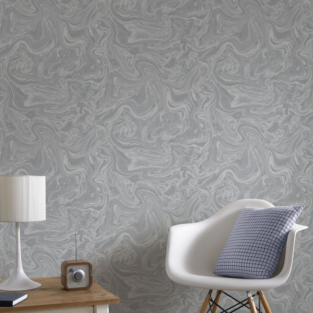 Marbled grey and silver wallpaper graham brown for Grey lounge wallpaper