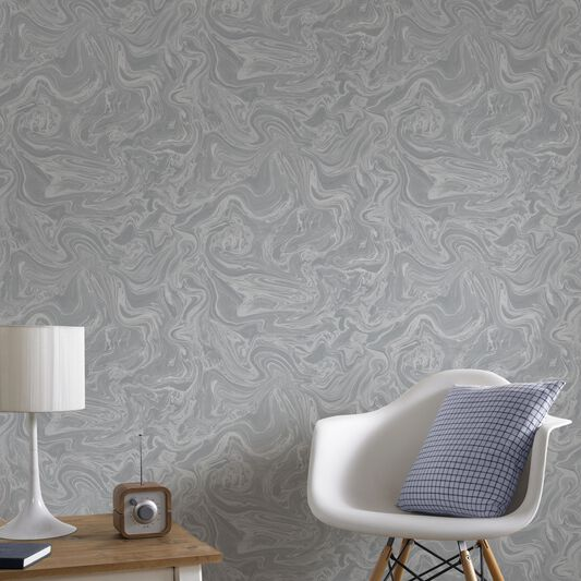 Marbled grey and silver wallpaper graham brown for Grey silver wallpaper living room