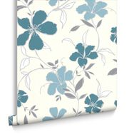 Rapture Teal and Silver Wallpaper, , large