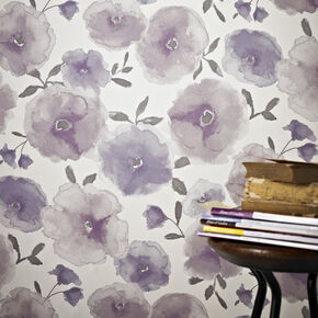 Poppies Lavender Wallpaper, , large