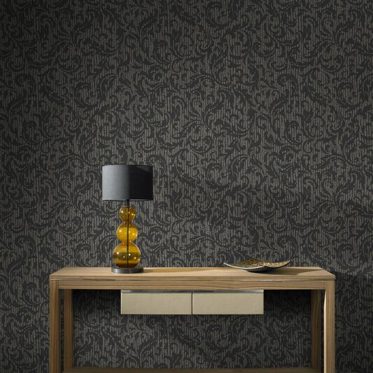Cashmere Charcoal and Champagne Wallpaper, , large