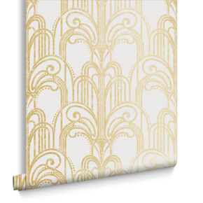 Art Deco Gold and Pearl Wallpaper, , large