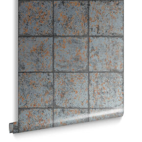 Oxidised Tile Rust Behang, , large