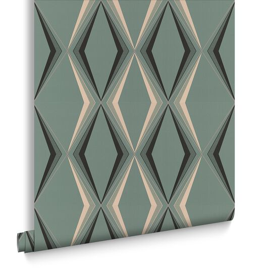 deco diamond green wallpaper | geometric wallpaper | graham & brown, Deko ideen