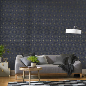 Prism Navy & Gold Wallpaper, , large