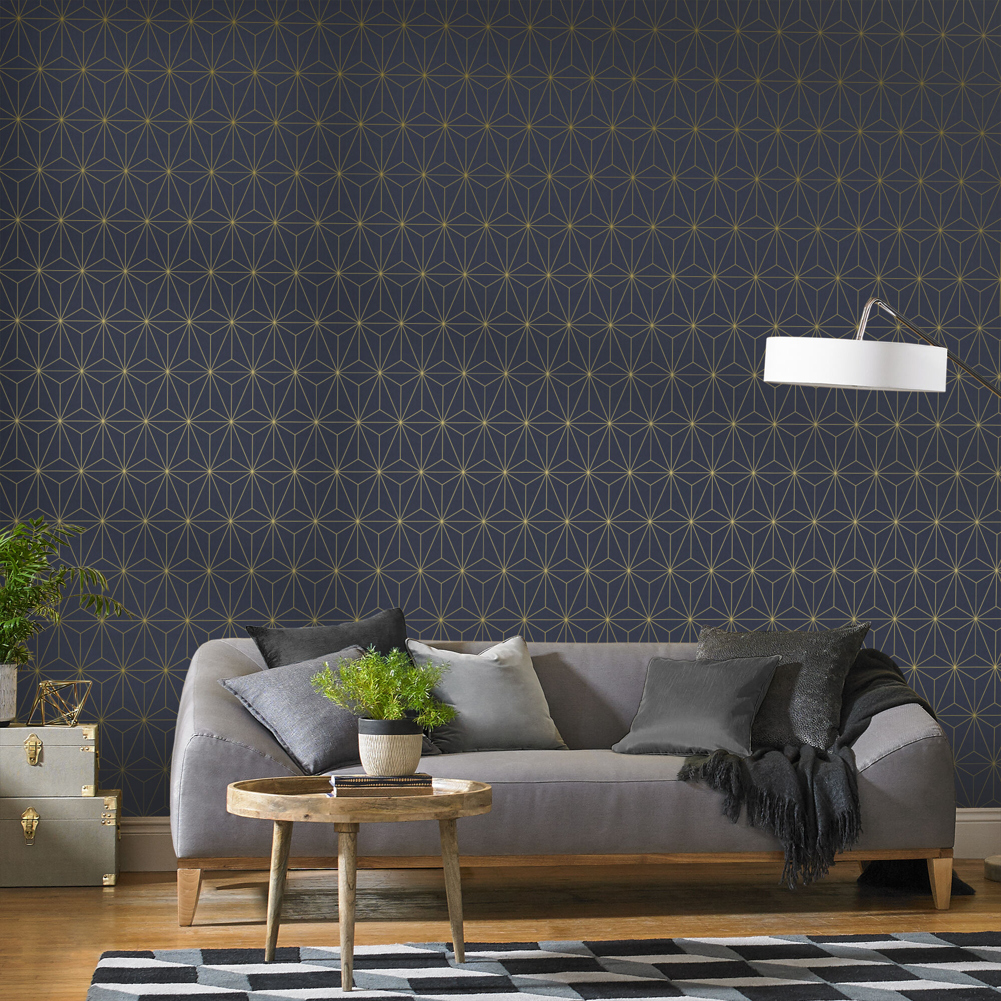 ... Large Prism Navy U0026 Gold Wallpaper, ...