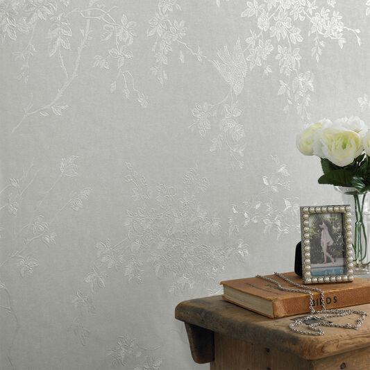 Spring Blossom Silver Mist Wallpaper Graham Amp Brown