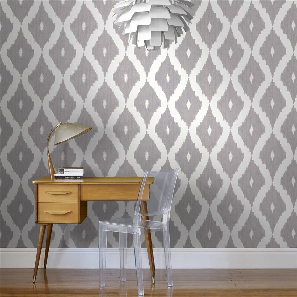 ... Large Kellyu0027s Ikat White And Soft Grey Wallpaper, ...