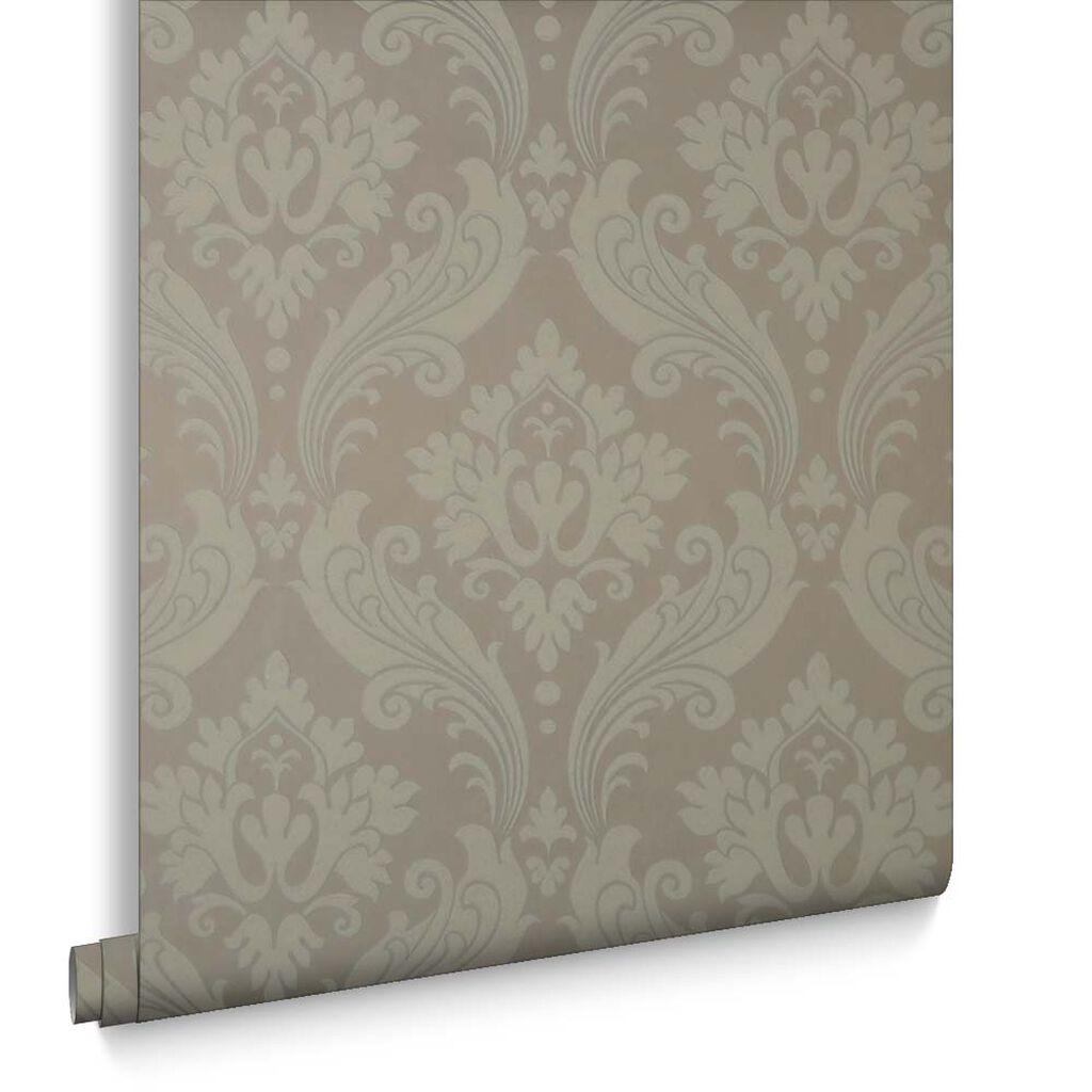 vintage flock taupe wallpaper graham brown. Black Bedroom Furniture Sets. Home Design Ideas