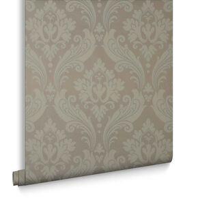 Vintage Flock Taupe Wallpaper, , large