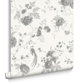 Exotica White and Silver Wallpaper, , large