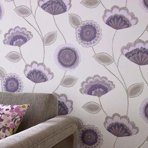 Romany Purple Wallpaper, , large