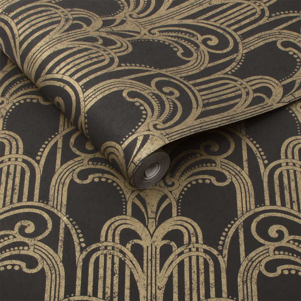 Art Deco Black And Gold Wallpaper Grahambrownuk