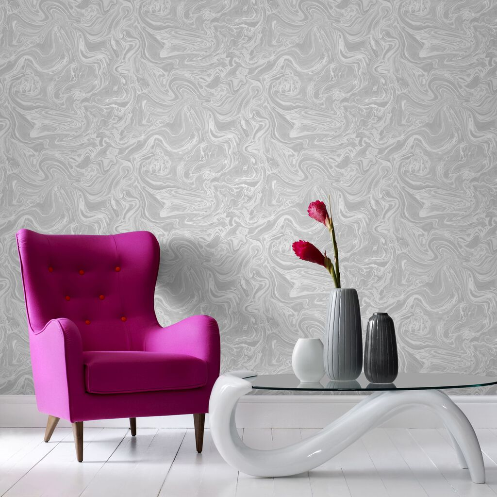 Marbled grey and white wallpaper graham brown for Grey lounge wallpaper