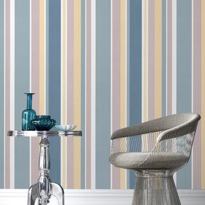 Rico Stripe Teal Wallpaper, , large
