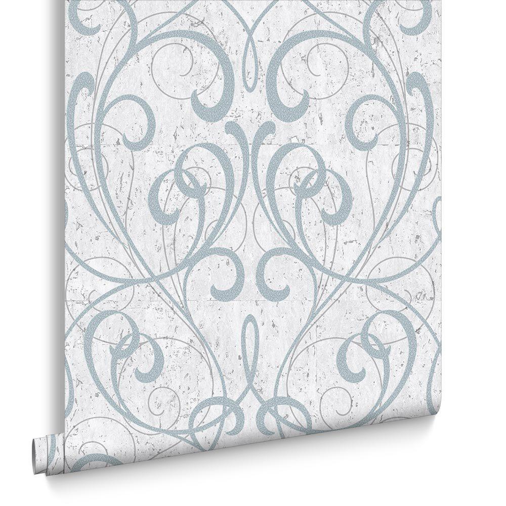 pale blue silver cork damask wallpaper
