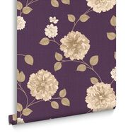 Charlotte Amethyst and Cream Wallpaper, , large