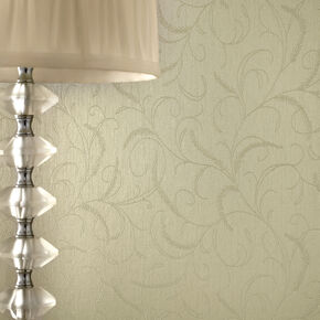Leaf Scroll Green Shimmer Wallpaper, , large