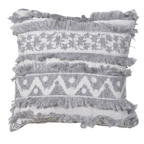 Soft Grey Indian Ink Fringed Cushion Cover, , large