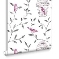 Birds und Cages Hot Pink und Charcoal, , large