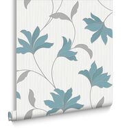 Alannah Teal and Silver Wallpaper, , large
