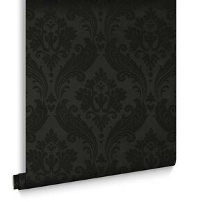 Vintage Flock Black Wallpaper, , large