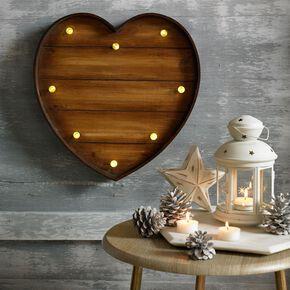 Lit Wood Effect Heart  Metal Art, , large