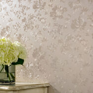 Floral Silk Golden Wallpaper, , large