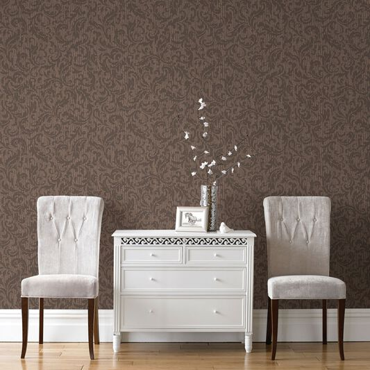 Cashmere Chocolate and Copper Wallpaper, , large