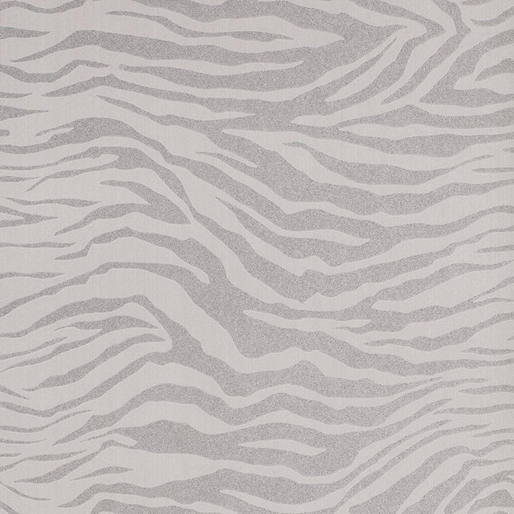 Zebra Silver Glitter Wallpaper GrahamBrownUK