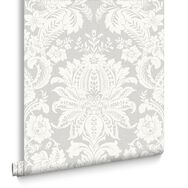 Venetian Damask Grey Wallpaper, , large