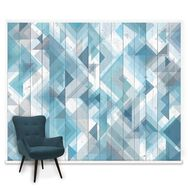 Couture Geo Wood Blue Mural, , large