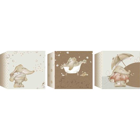 Graham & Brown Eleflump Set of 3 Canvas Blocks - 15x15cm , , large