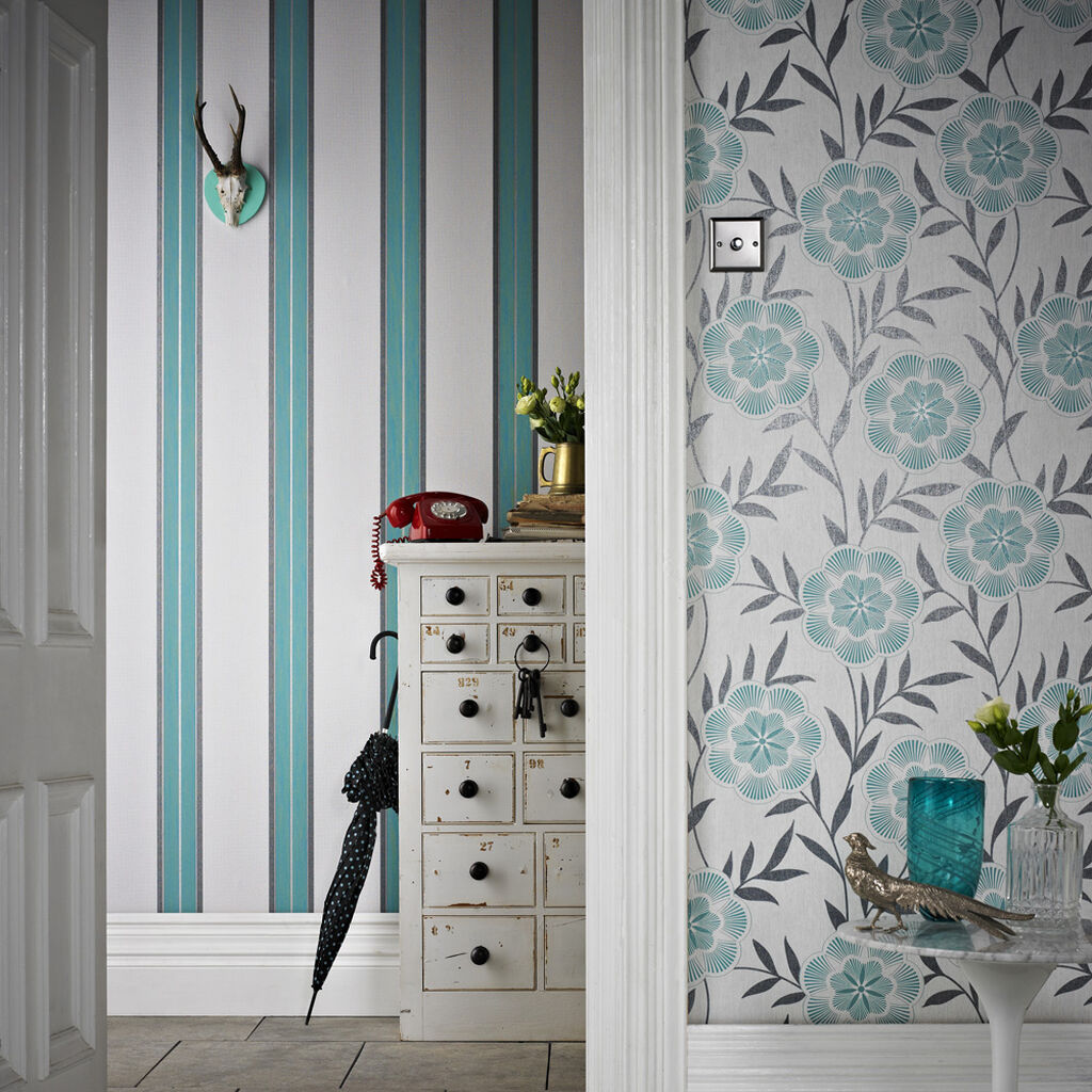 harlow teal wallpaper graham brown. Black Bedroom Furniture Sets. Home Design Ideas
