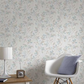 Vermeil Leaf Duck Egg Wallpaper, , large
