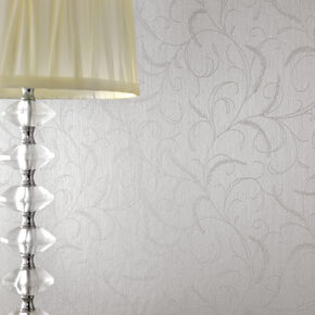 Leaf Scroll Silver Mist Wallpaper, , large
