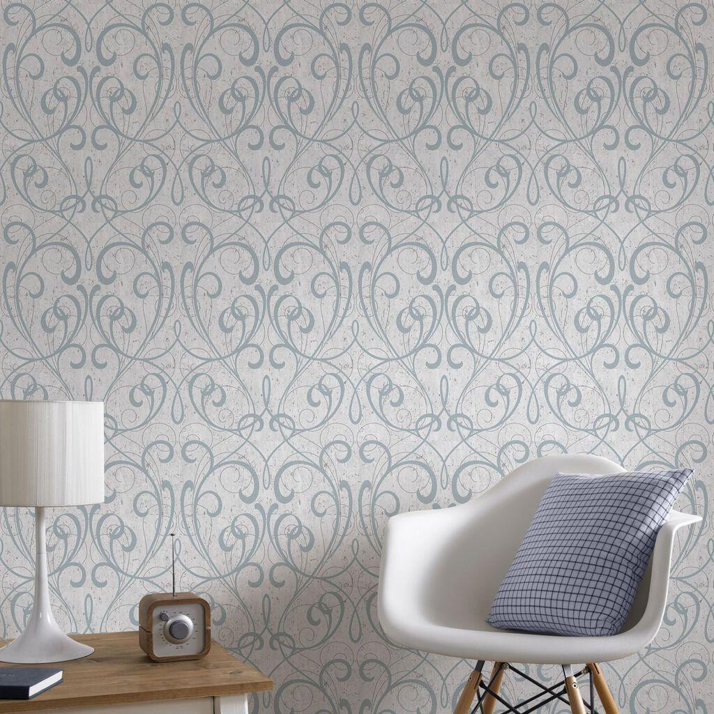 silver damask wallpaper b&q