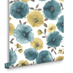 Poppies Teal Wallpaper, , large