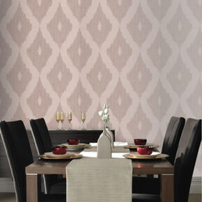 Kelly's Ikat Taupe Wallpaper, , large