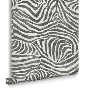 Zebra White and Black Wallpaper, , large