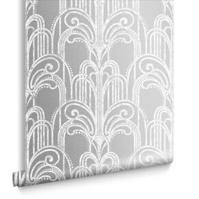 Art Deco Silver Wallpaper, , large