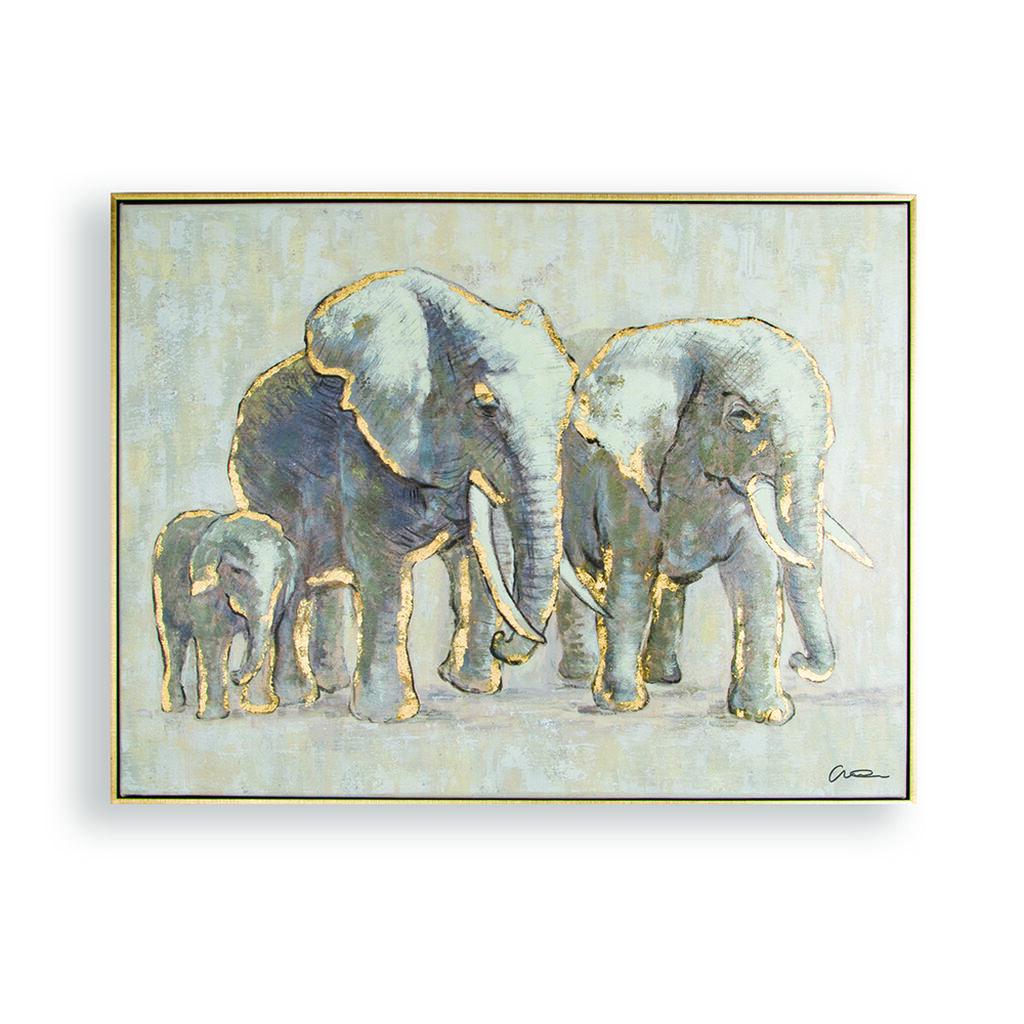 Metallic Elephant Family Handpainted Framed Canvas
