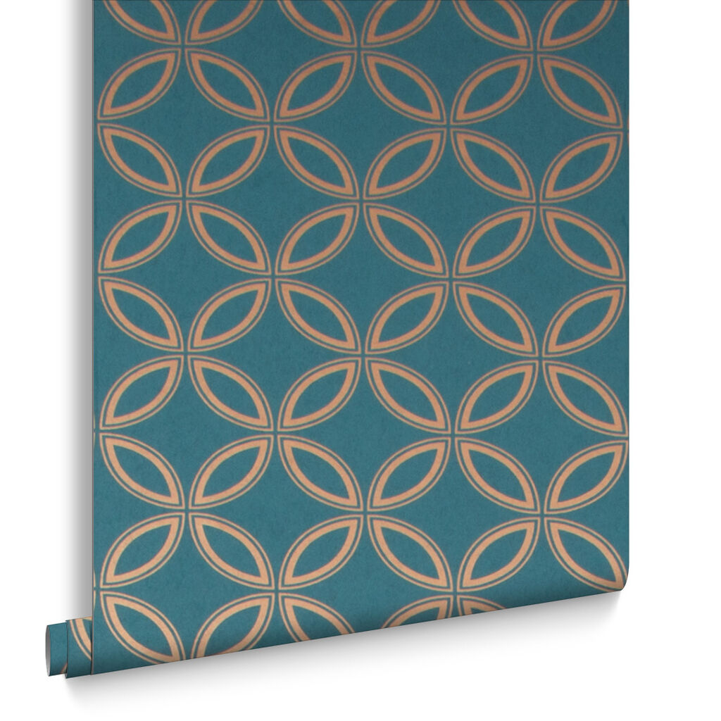 Eternity teal and gold wallpaper grahambrownuk for Salon couleur bleu turquoise