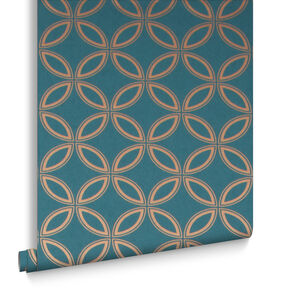 Eternity Teal and Gold Wallpaper, , large