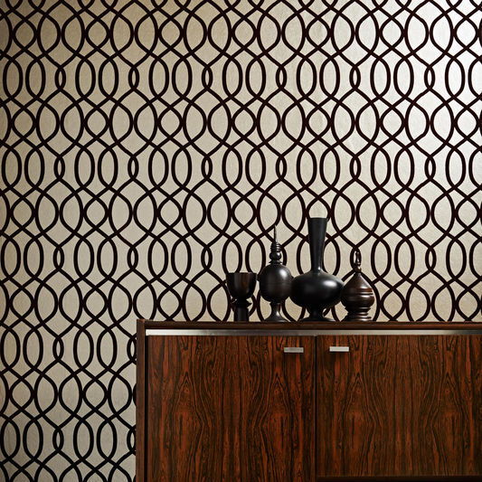 Knightsbridge Flock Russet Wallpaper, , large