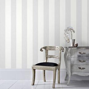 Calico Stripe Grey Wallpaper, , large