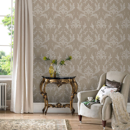 Oxford gold and natural wallpaper grahambrownus for Taupe wallpaper living room