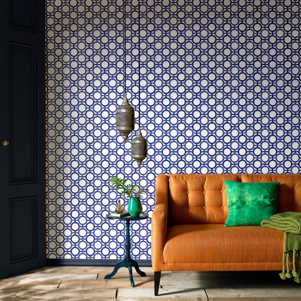 enigma white and prussian blue wallpaper graham brown. Black Bedroom Furniture Sets. Home Design Ideas